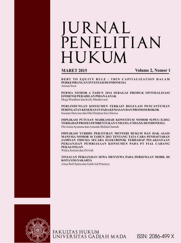 Jurnal Penelitian Hukum Fakultas Hukum Universitas Gadjah Mada